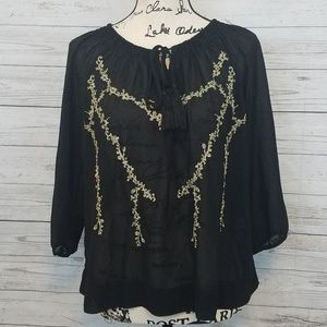 Forever 21 Contemporary Black & Gold Top